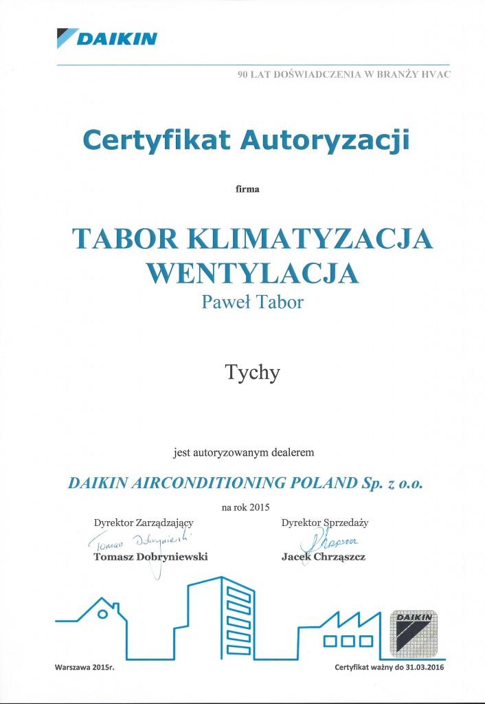 certyfikat autoryzacji daikin